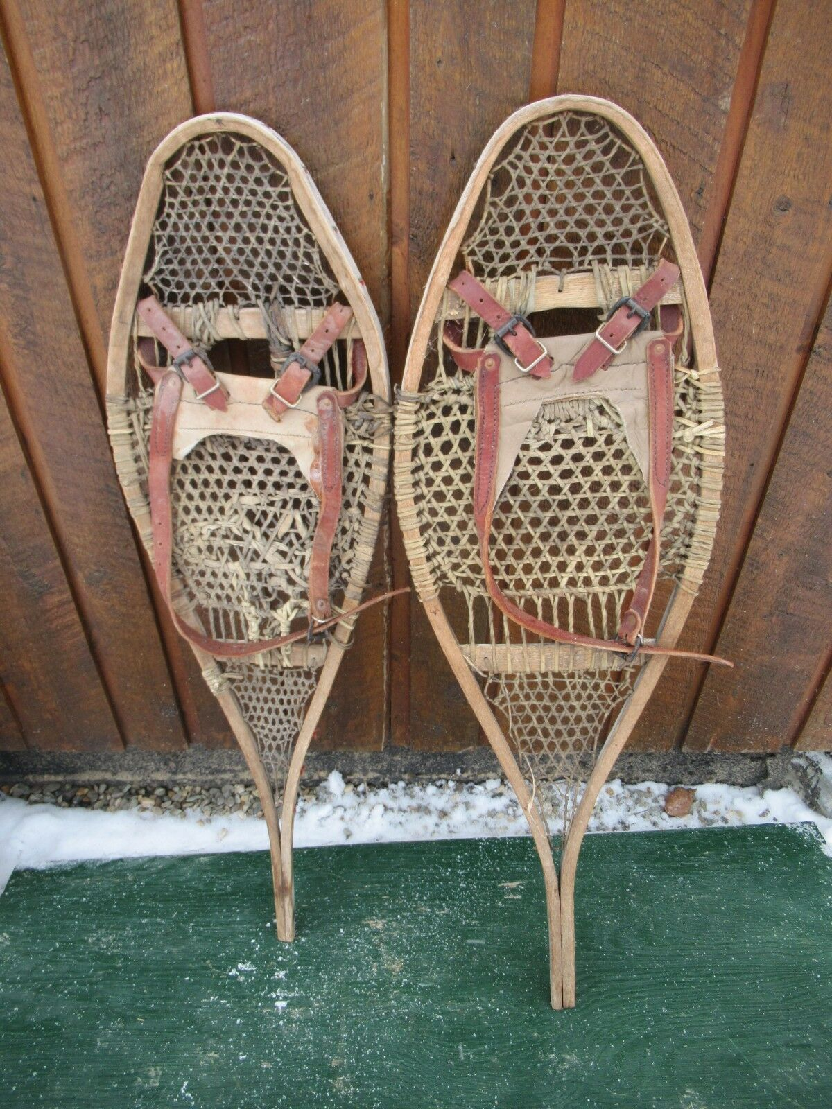 VERY OLD Snowshoes 37  Long x 12  Wide Hand Made w  Binding Great for DECORATION