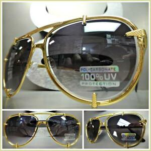 7282daa8cb0 Men Women CLASSIC VINTAGE RETRO Style SUN GLASSES Large Gold Metal ...