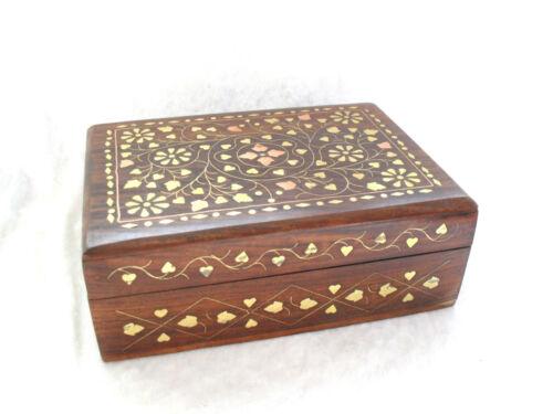 JEWELLERY TRINKET MOMENTO BOX Hand Carved Wood Box Brass Copper Inlay Inlaid