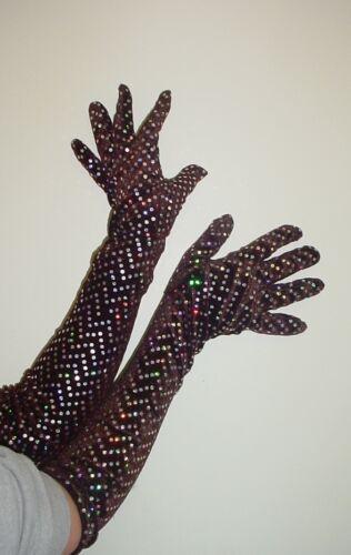 hw172 Halloween Longue Sequins Marron longueur gants-déguisements Prom Costume