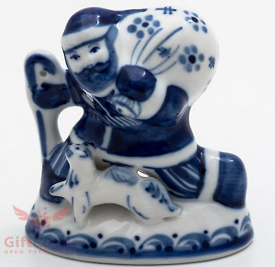 Gzhel Porcelain Figurine Ded Moroz Santa Claus with presents Happy New Year