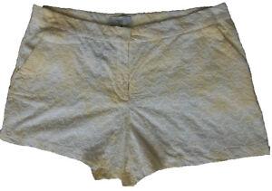 New-Womens-White-amp-Yellow-NEXT-Shorts-Size-18-Regular-RRP-24