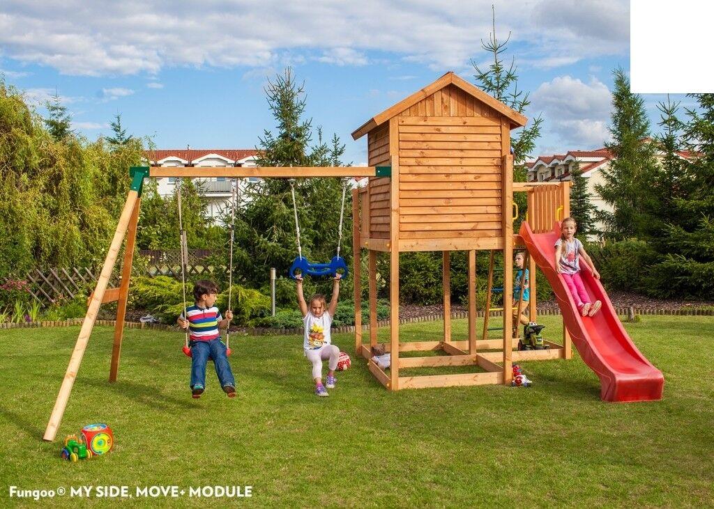 Spielhaus Spielturm MY-Side-Move Podesthöhe 145 cm mit 2,90 m Rutsche Schaukel