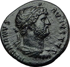 HADRIAN Rare Quadrans Semis 124AD Rome ROMA Authentic Ancient ROman Coin i60652