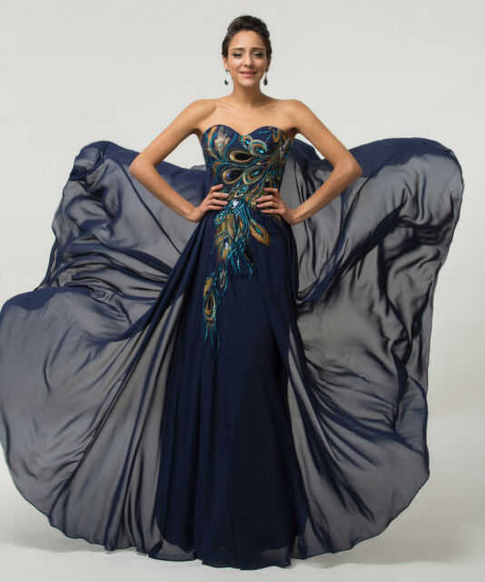 PLUS SIZE Peacock  Formal Evening Women Gown Prom Party Chiffon Bridesmaid Dress