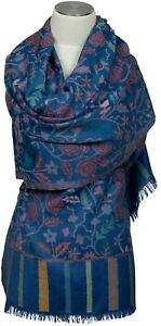 Kani-Schal-Stola-Blau-Rosen-scarf-stole-100-Wolle-wool-blue-floral-roses