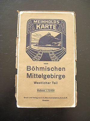 Ehrlich Alte Meinhold Karte Böhmisches Mittelgebirge Westlicher Teil Landkarte Um 1920