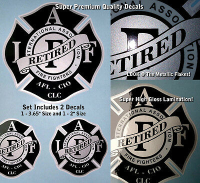 IAFF Firefighter Decals Traditional Red Black Chrome 2pc Kit Laminated 0077