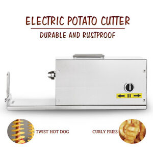 Electric Stainless Steel Spiral Potato Slicer Twister Curly Automatic Cutter NEW