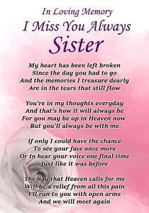 I Miss You Always Sister Memorial Graveside Poem Card ...