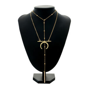Women Multilayer Moon Horn Pendant Necklace Clavicle Chain Gold Fashion Jewelry
