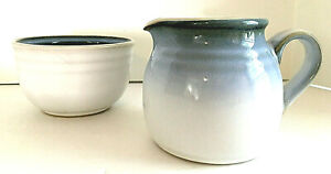 Noritake Sorcerer Stoneware  8620 Open Sugar Bowl & Creamer Pitcher Blue VTG EUC