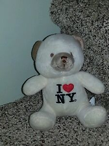 """6"""" WHITE Teddy BEAR I LOVE (heart) NY (New York) Plush Stuffed Animal"""