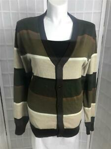 Women's  Springfield XXL Natural Tan Coco Brown Striped Button Up Cardigan