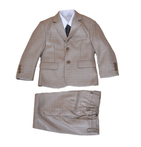 Beige 5 Piece Boy Suits Boys Wedding Suit Page Boy Party Prom 2-12 Year