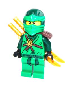 Lego ninjago minifigure lloyd green ninja x2 swords 70596 new genuine ebay - Ninja vert lego ...