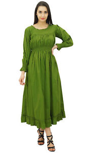 Bimba Frauen Grun Baumwolle Smok Taille Kleider Lang Maxi Kleid Boho Chic Sommer Ebay