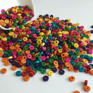 500 Mixed Colour 8X3mm Rondelle Wood Beads~Wooden Spacer