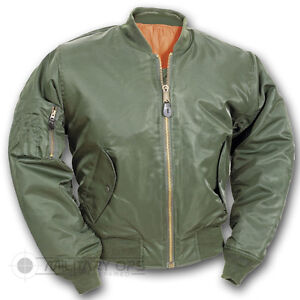 ada4306ac Details about US MILITARY STYLE MA-1 FLIGHT BOMBER JACKET OLIVE GREEN PUNK  SKINHEAD MOD