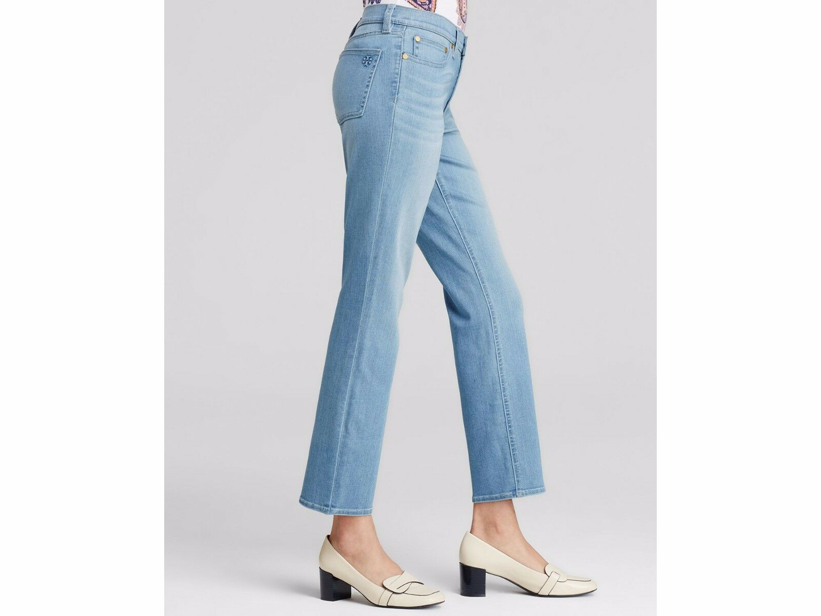 195 NEW TORY BURCH Cropped Straight Leg Jeans Ankle bluee Slate Wash STRETCH 26