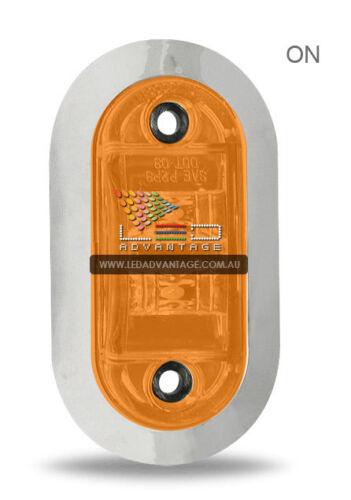 12V CHROME BEZEL AMBER WATERPROOF LED MARKER//CLEARANCE//TRAILER//BOAT LIGHT