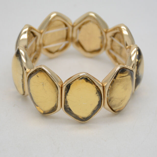 Chico's jewelry gold tone stretch bangle wide resin bracelet for women gifts