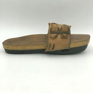 Vintage 70s Kalso Earth Shoes Sandals Wood Insole size 9.5 42 made Denmark B4
