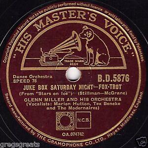 GREAT-GLENN-MILLER-78-JUKE-BOX-SATURDAY-NIGHT-SLEEPY-TOWN-TRAIN-HMV-BD-5876-E