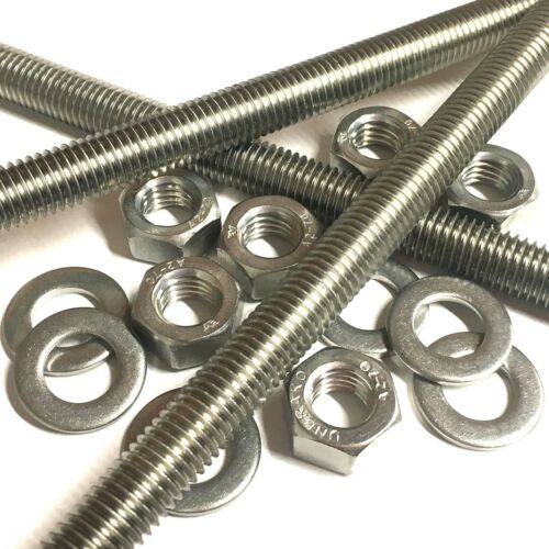 M8 A2 Stainless Steel Threaded Bar Rod Studding 8mm Full Nuts Washers