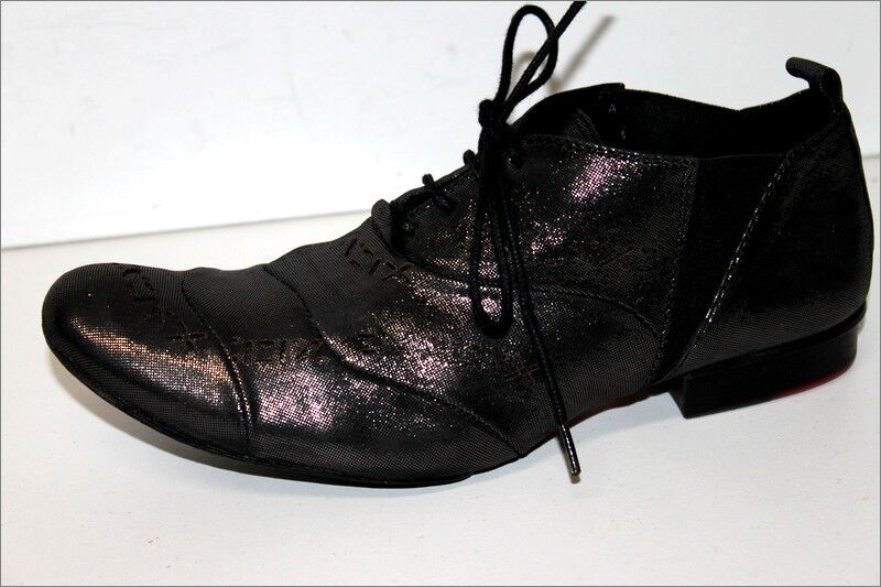 Marithe francois girbaud derby lace up black grey leather shimmer t 38 tbe