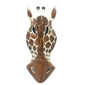 White-Giraffe-Hand-Carved-Wooden-Mask-African-Safari-Jungle-Wall-Art-Hanging