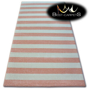 Image Is Loading Amazing Thick Modern Rugs Sketch Stripes Pink Cream