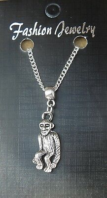 Monkey Pendant Silver Necklace Chain Animal Jewellery Gifts for Her Women Mum C3