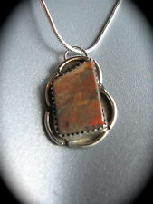 NAVAJO SILVER PETRIFIED WOOD AGATE STONE NECKLACE Handcrafted Pendant Vintage
