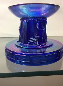 Fenton-Art-Glass-Cobalt-Carnival-Special-Eagle-Candle-Holder