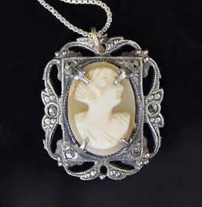 Marcasite Shell Cameo Necklace Rare OOAK Large 1940s Vintage Sterling Cameo Marcasite  Bezel on Marked 800 Back Cameo 19  Necklace