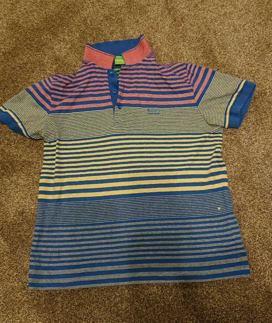 Mens Genuine Hugo Boss Striped Polo Shirt, Size Small (modern fit).