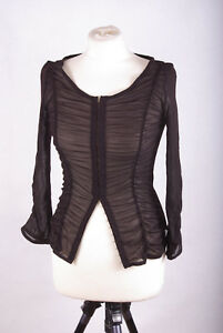 L120b35-Claudia-Strater-Elastic-Sexy-Fitted-Brown-Draped-Blouse-UK6-Eur34-US2