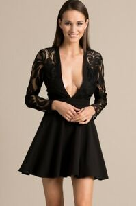 Details About Missguided Stunning Black Lace Skater Dress Plunge Long Sleeves Sz 10 Bnwt