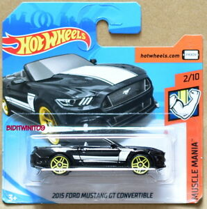 HOT-WHEELS-2018-MUSCLE-MANIA-2015-FORD-MUSTANG-GT-CONVERTIBLE-BLACK-SHORT-CARD