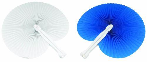 50 pezzi Ventagli 25 bianchi 25 blu bomboniera per matrimoni,comunioni,feste