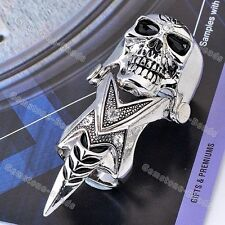 1PC Crystal Skull Demon Spike Punk Double Joint Finger Ring Mens Cool Gothic HOT