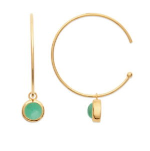 creole earrings Open With Stone Aventurine Gold plated 18k