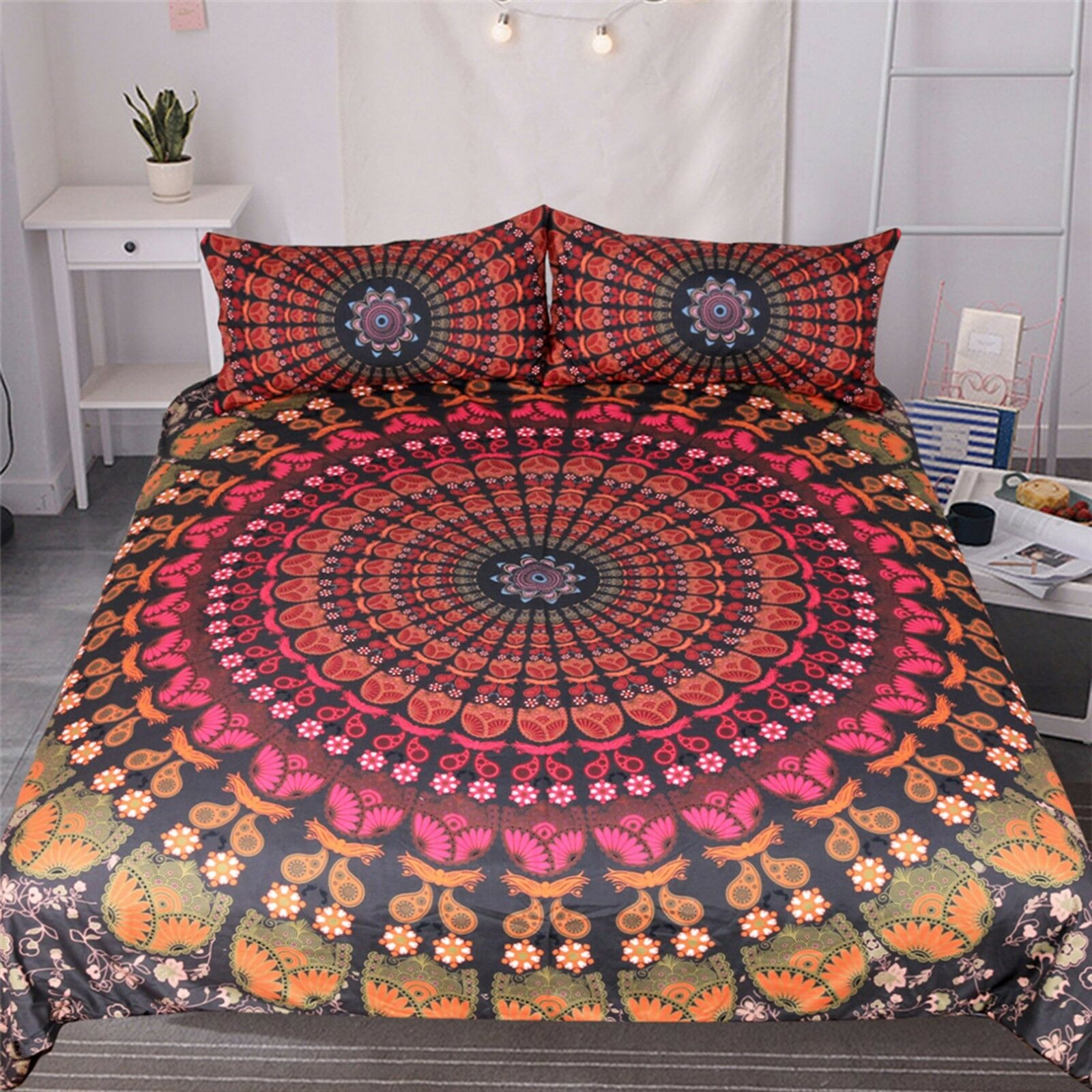 3D Red Pattern 45 Bed Pillowcases Quilt Duvet Cover Set Single Queen CA