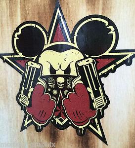 2x Rotbraun / Creme Biker Oldschool Aufkleber Mickey Knarren Sticker Rockabilly
