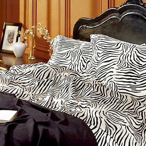 Satin Sheet Set Queen Size Zebra Print Animal Safari