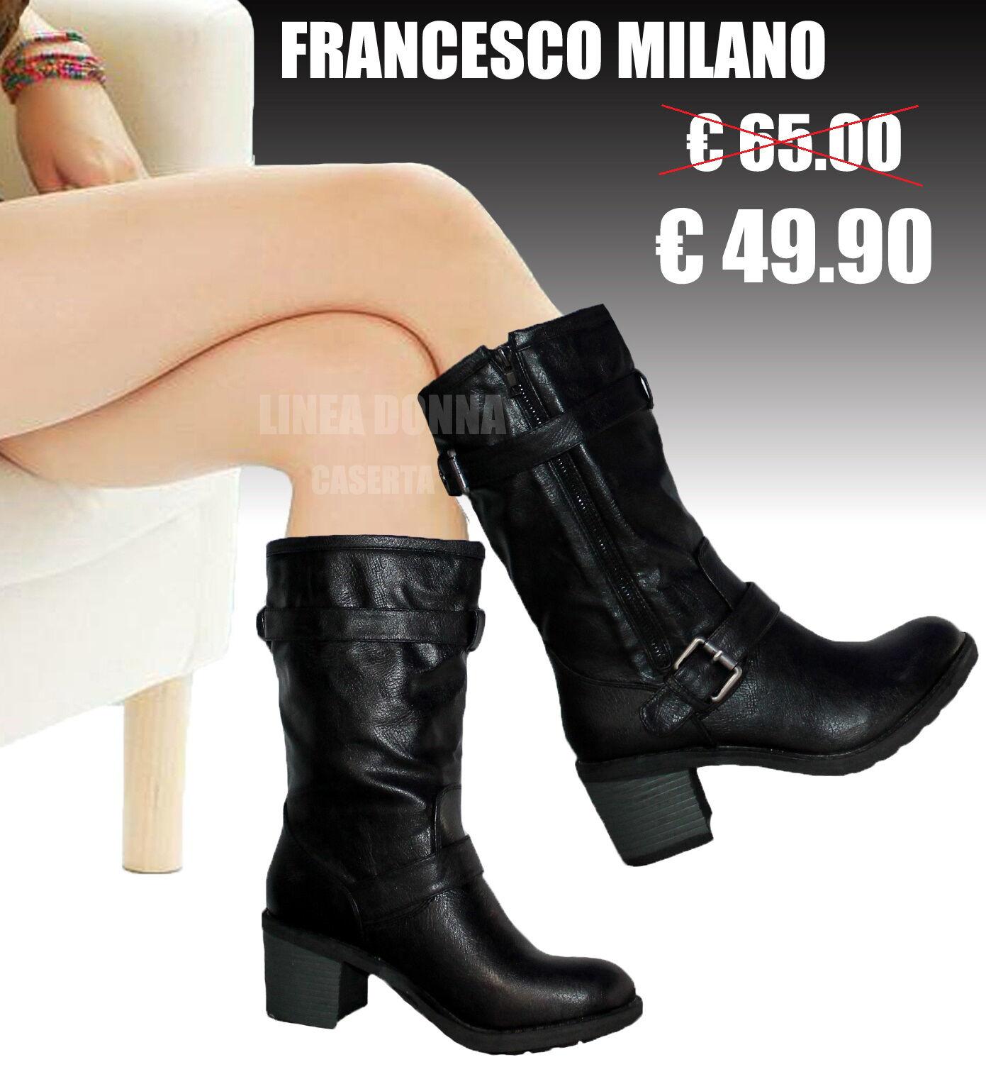 Stivali Stivaletti Biker boots women FRANCESCO MILANO numero 37 38 39 40 41