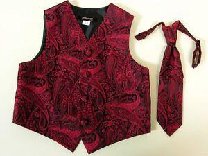 Vest Apple Red Paisley Full Back Neck Tie Tuxedo Steampunk Wedding Prom Majestic