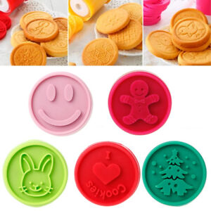 Details About Christmas Cookie Stamps Tasty Teaser Baking Mold Round Biscuit Bakeware Cutter