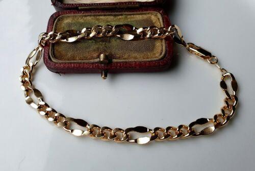 CLASSIC 9ct Gold gf Diamond cut Bracelet BID WITH CONFIDENCE { 0041N }